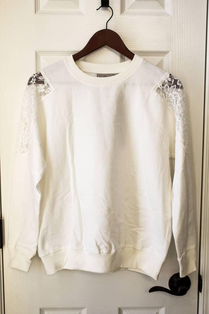 Stitch Fix Dantelle Delia Lace Detail Knit Sweatshirt