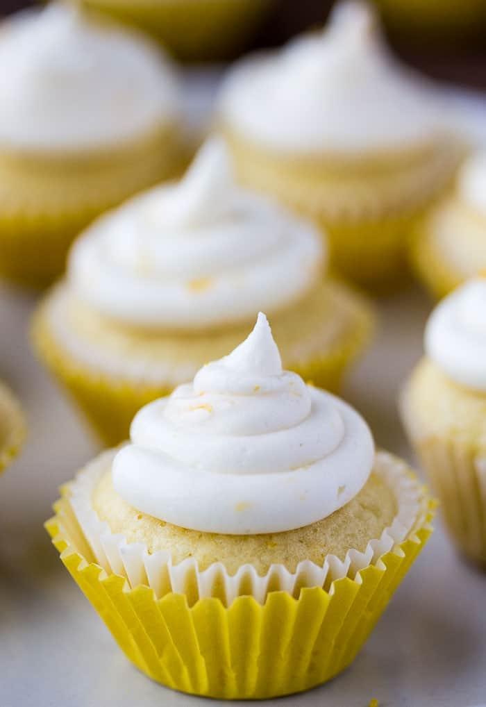 Close Up of Mini Lemon Cupcakes with Lemon Buttercream