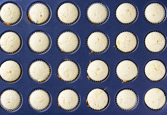 Lemon Cupcakes Fully Baked in a Mini Cupcake Pan