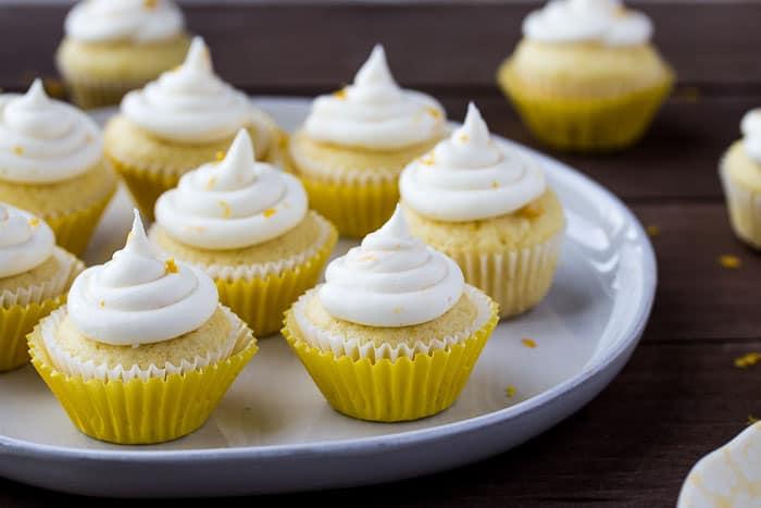 Mini Lemon Cupcakes on a Gray Plate