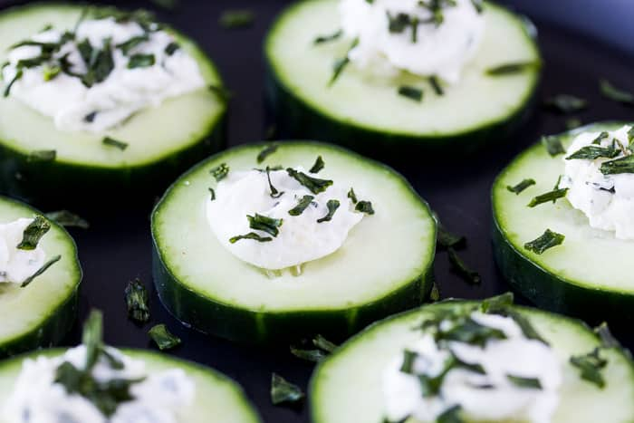 Close Up of a Plate of Mini Low Carb Cucumber Bites