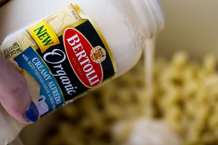 Pouring the Bertolli Organic Creamy Alfredo Sauce Into the Pot of Pasta