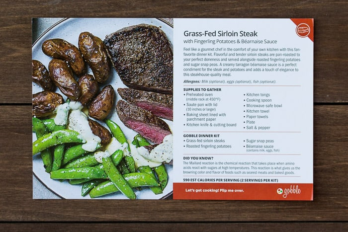 Recipe Card for Gobble Grass Fed Sirloin Steak with Fingerling Potatoes and Bearnaise Sauce