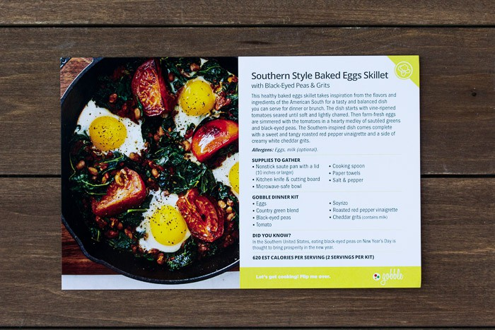 Recipe Card for Gobble Southern Style Baked Eggs Skillet