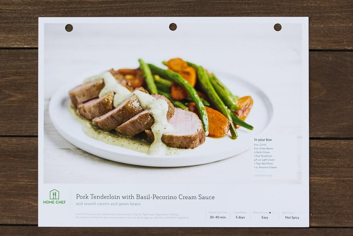 Home Chef Pork Tenderloin with Basil-Pecorino Cream Sauce Recipe Card