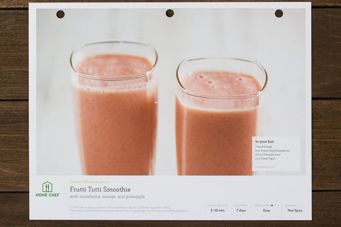 Home Chef Frutti Tutti Smoothie Recipe Card