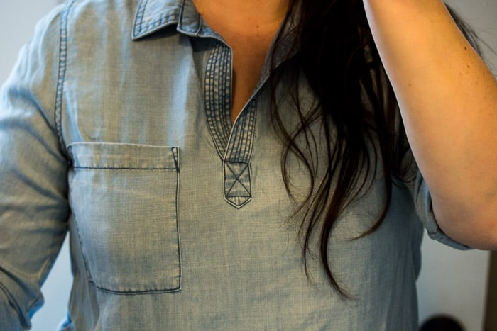 Stitch Fix Skies are Blue Alisson Chambray Top On