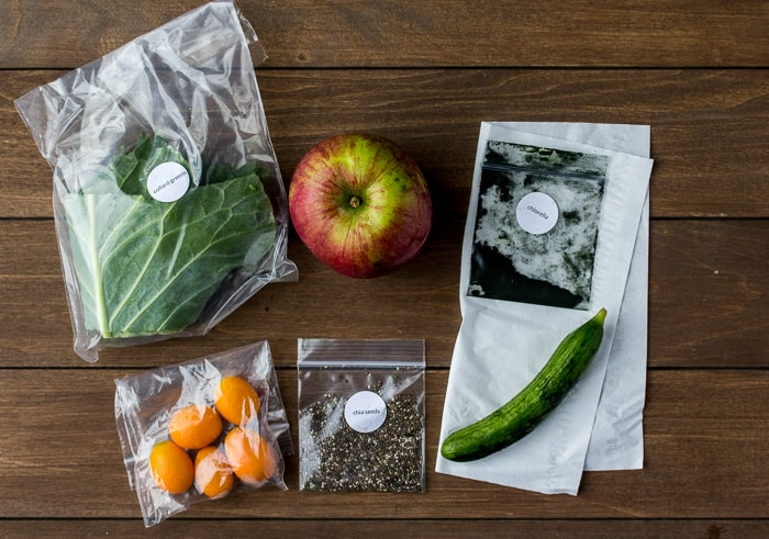 Ingredients Laid Our for the Apple Chia Refresh Smoothie