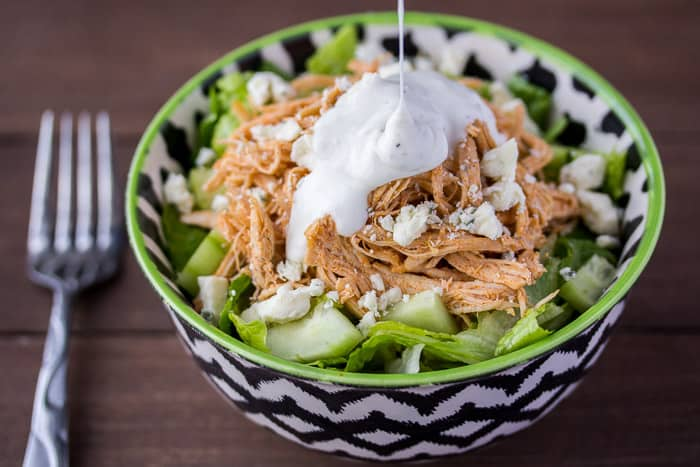 Low Carb Buffalo Chicken Salad Topped with Ranch Dressing