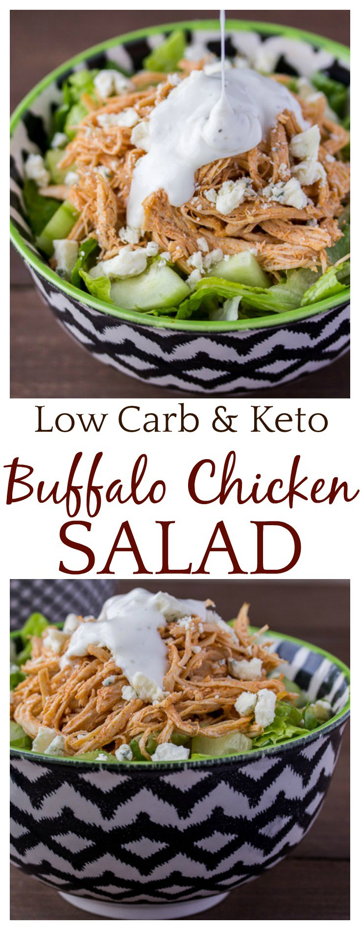 Low Carb Buffalo Chicken Salad makes a great make ahead lunch or dinner! It's also suitable for those on a keto diet and gluten free! | #lowcarb #keto #glutenfree #salad #buffalochicken #dlbrecipes #easyrecipes