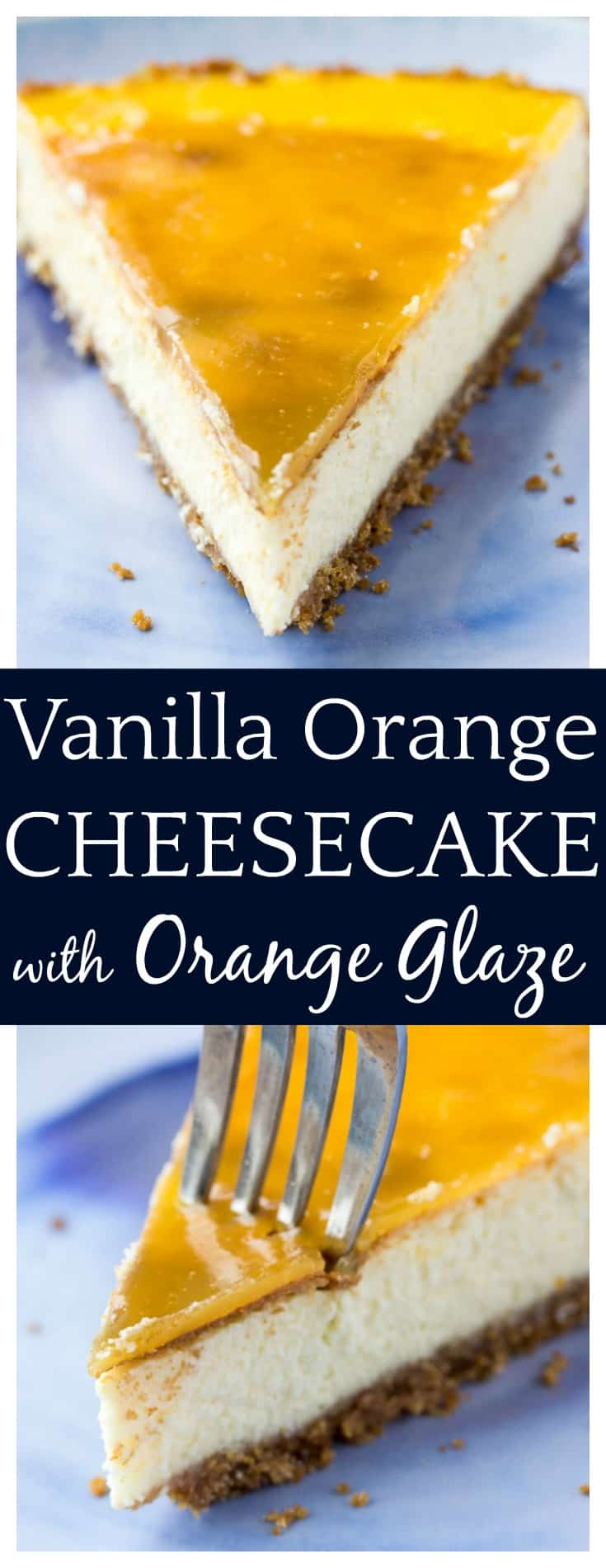 Fresh and bursting with citrus flavor, this Vanilla Orange Cheesecake with Orange Glaze is melt-in-your-mouth delicious! It's a great make-ahead dessert recipe! | #dessert #cheesecake #dessertrecipe #orangecheesecake #dlbrecipes