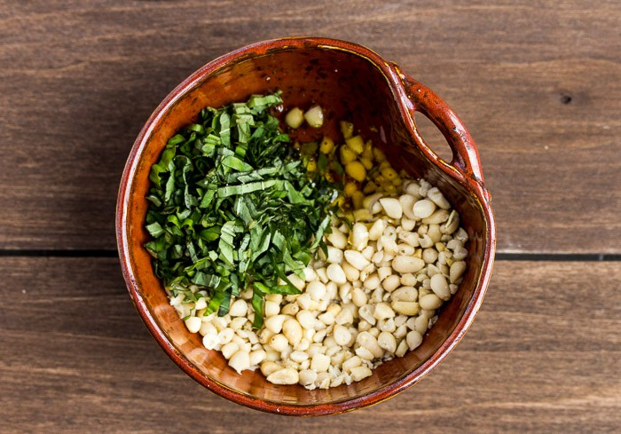 Ingredients for the Pine Nut Topping in a Bowl