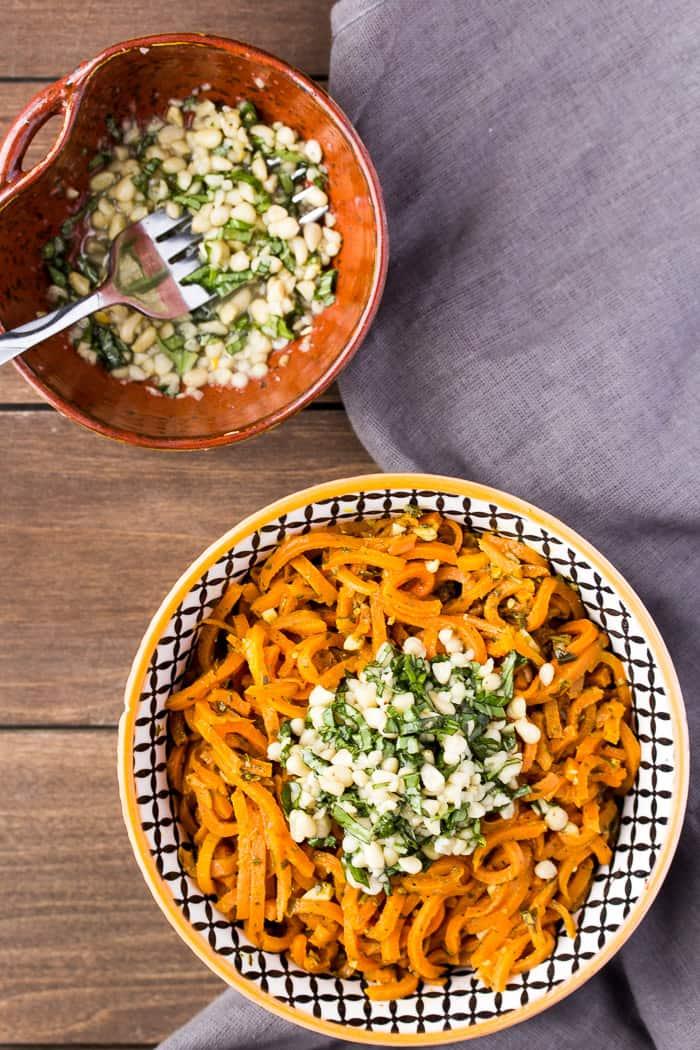 Overhead Of Vegetarian Carrot Pesto Pasta