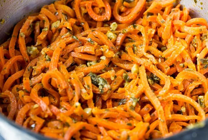 Carrot Veggie Spirals Tossed with Pesto