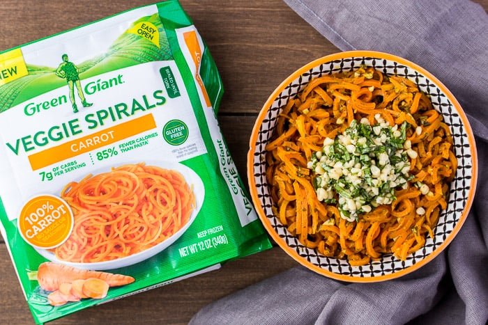 Green Giant Carrot Veggie Spirals and a Bowl of Carrot Pesto Pasta