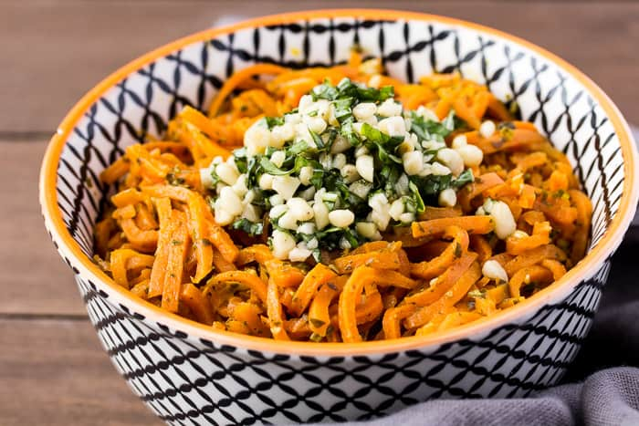 Vegetarian Carrot Pesto Pasta in a Bowl