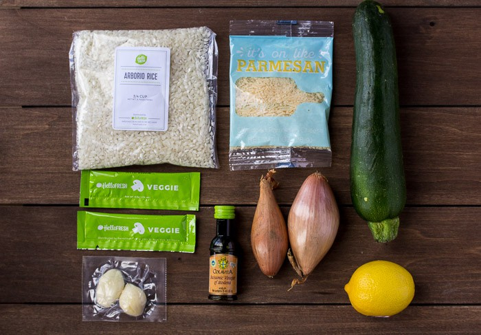 Ingredients for the Caramelized Shallot Risotto on a Wood Board