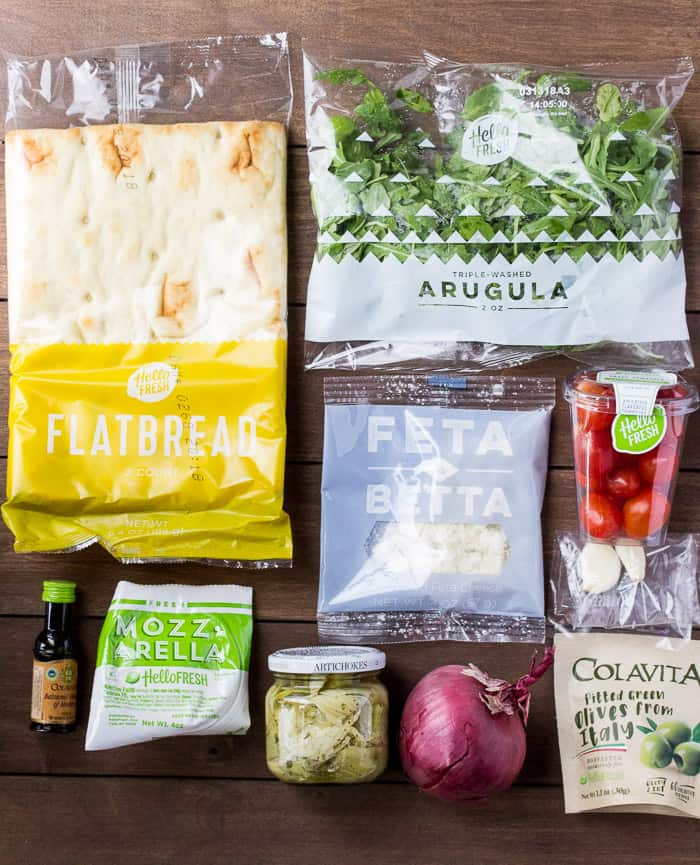 Ingredients for the Hello Fresh Greek Salad Flatbreads