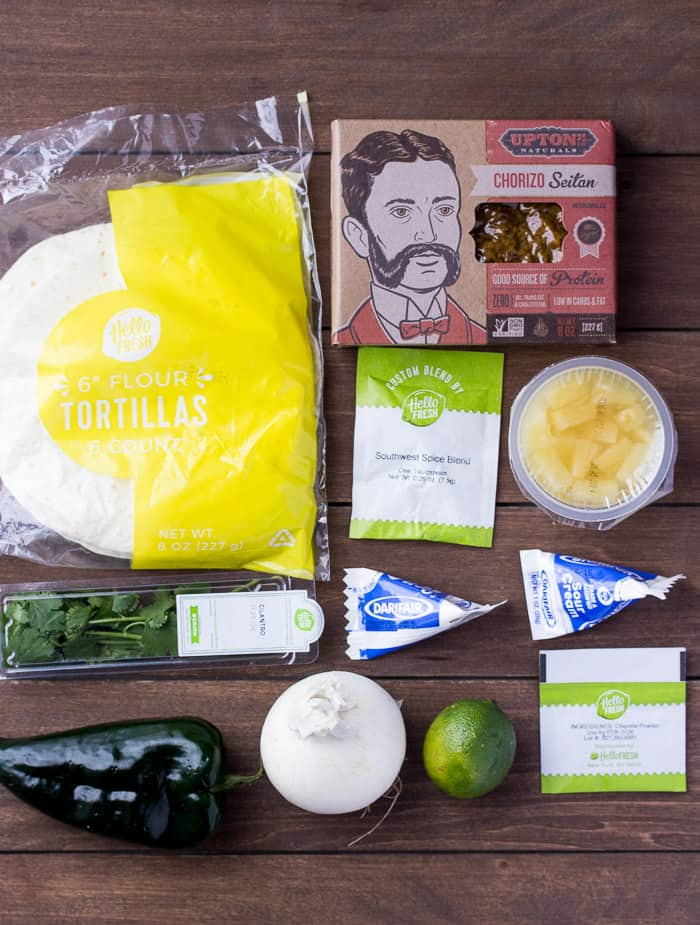 Ingredients for the Hello Fresh Tacos Al Pastor