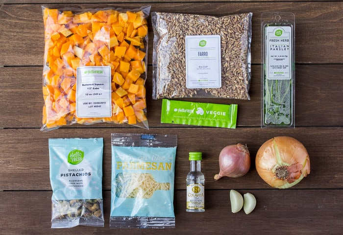 Ingredients for the Hello Fresh Butternut Squash Power Bowl