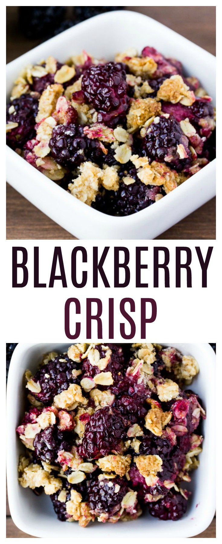 This easy blackberry crisp recipe is the perfect summer dessert! It's simple and quick to make and tastes great with ice cream! You can easily make it gluten free by swapping out the flour. | #dlbrecipes #glutenfree #blackberrycrisp #blackberries #dessert