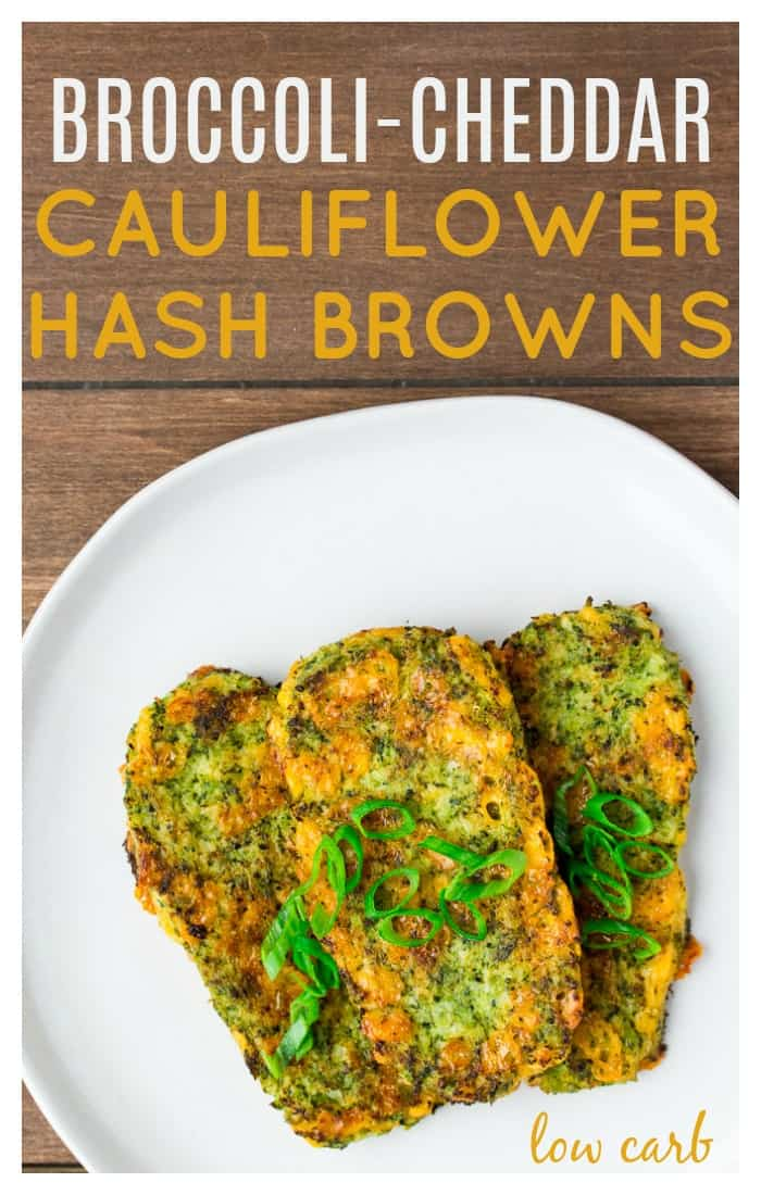 Broccoli Cheddar Cauliflower Hash Browns are a delicious, low carb side that's perfect alongside eggs and bacon! They are also gluten free and suitable for those on a keto diet as well! | breakfast recipe | brunch | #lowcarb #keto #glutenfree #cauliflowerhashbrowns #dlbrecipes