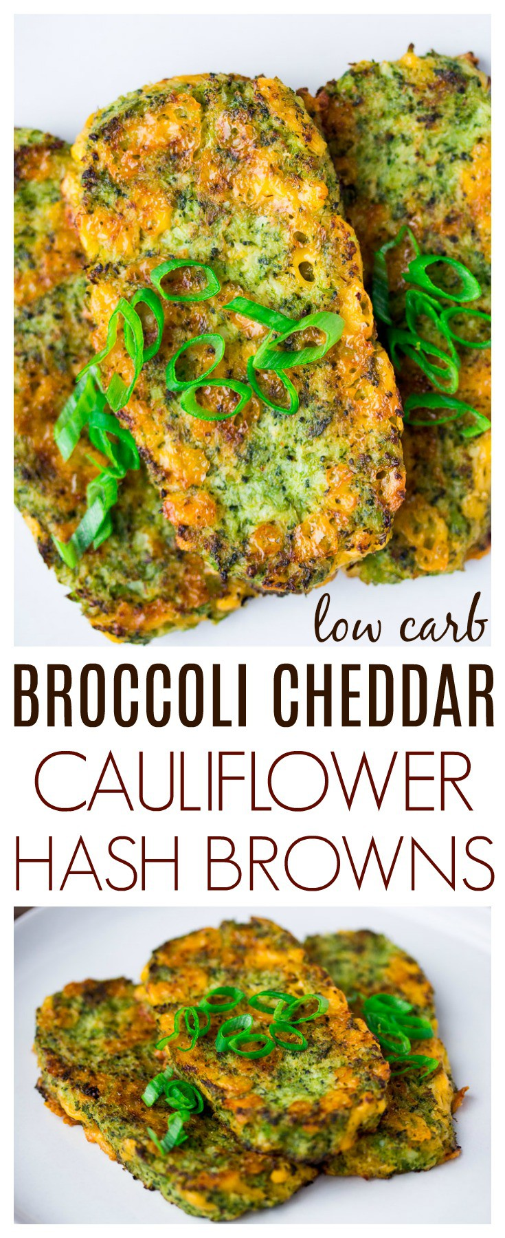 Broccoli Cheddar Cauliflower Hash Browns are a delicious, low carb side that's perfect alongside eggs and bacon! | keto | breakfast recipe | brunch recipe | #lowcarb #keto #cauliflowerhashbrowns #dlbrecipes #breakfastrecipe