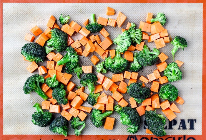 Broccoli and Sweet Potatoes on a Baking Sheet