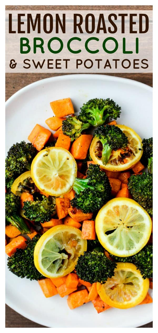 This recipe for Lemon Roasted Broccoli and Sweet Potatoes is an easy way to take your vegetable side dish up a notch! | side dish recipe | whole 30 | gluten free | vegetarian | #dlbrecipes #sidedish #whole30 #glutenfree #broccoli #sweetpotatoes