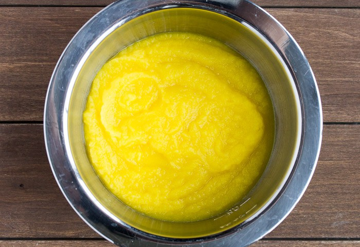 Mango Puree in a Silver Bowl
