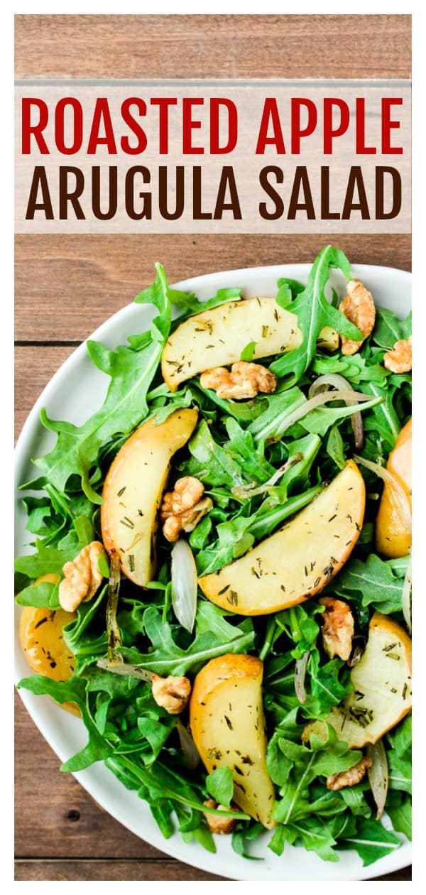 This Roasted Apple Arugula Salad is an absolutely delicious salad recipe that you can enjoy all year long. Make it a heartier meal by adding some grilled chicken! | #dlbrecipes #salad #saladrecipe #applesalad #glutenfree