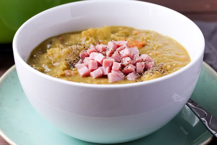 Split Pea Ham Soup in a White Bowl