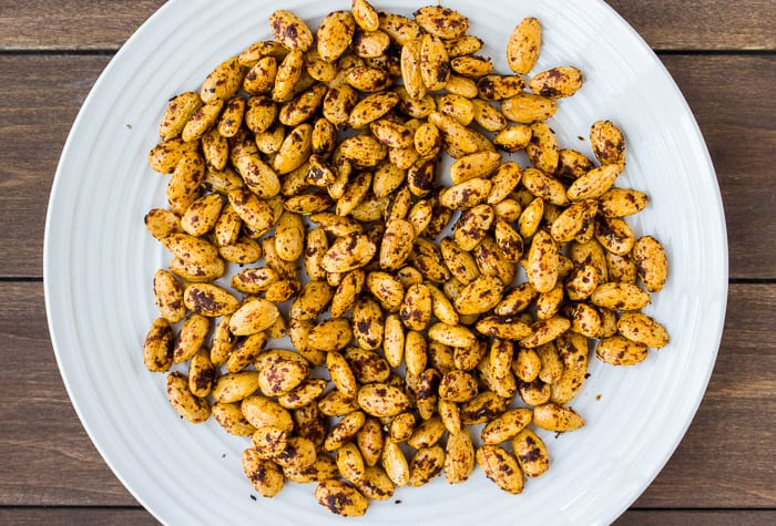 Chipotle Lime Almonds on a White Plate
