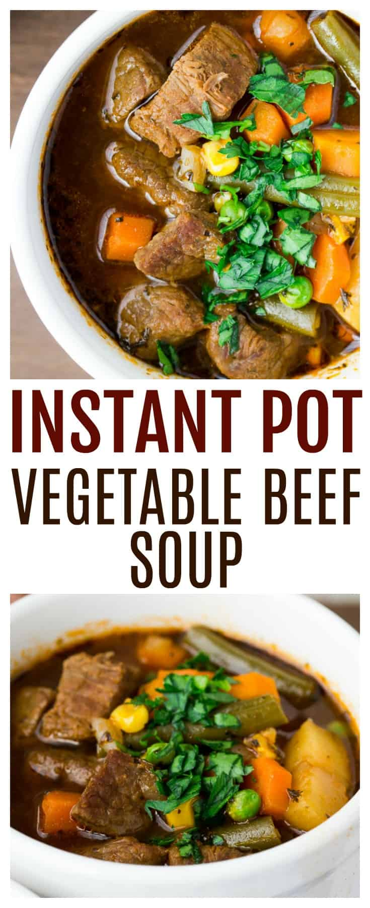 Instant Pot Vegetable Beef Soup tastes just as delicious as any other homemade vegetable beef soup recipe, but takes less time! The flavor is the delicious and the beef is melt-in-your-mouth tender! | #dlbrecipes #instantpot #instantpotsoup #souprecipe #vegetablesoup #vegetablebeefsoup