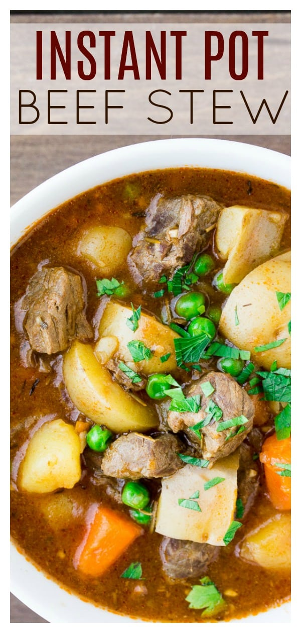 Instant Pot Homemade Beef Stew is just like the main dish mom used to make, but quicker! This soup recipe uses all real ingredients - no soup mixes! It tastes just like you've been cooking all day! | #dlbrecipes #beefstew #instantpotbeefstew #beef #instantpot #maindish
