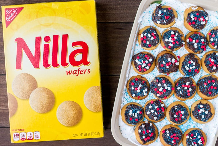 Box of NILLA Wafers Next to the Completed Cake