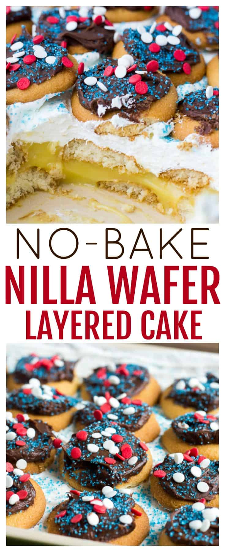 This No-Bake Layered NILLA Wafer Cake, isn't a cake by tradition standards. Make it by layering NILLA Wafer, pudding, and whipped topping, then top it with chocolate frosting! It's a perfect dessert recipe for summer! | #ad #dlbrecipes #summerdessert #nobakedessert #IC #NILLASummerParty