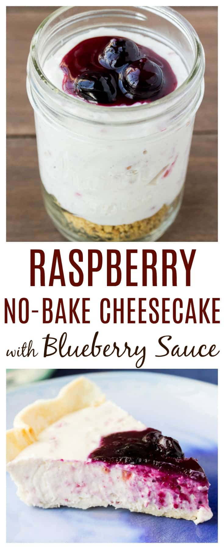 This Raspberry No-Bake Cheesecake recipe is the perfect summer dessert! Topped with Blueberry Sauce, it's also a great option for all of the red, white, and blue patriotic celebrations as well! | #dlbrecipes #cheesecake #summerdessert #raspberrycheesecake #nobakecheesecake
