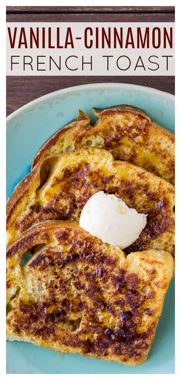 Vanilla Cinnamon French Toast is everything you love about the classic breakfast recipe. but with a hint of vanilla in each bite! It's an easy recipe that is great for weekends and especially at brunch with loads of toppings available! | #dlbrecipes #frenchtoast #breakfast #brunch #easyrecipe