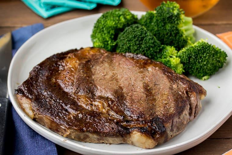 Fareway Ribeye Steak on a White Plate with Broccoli