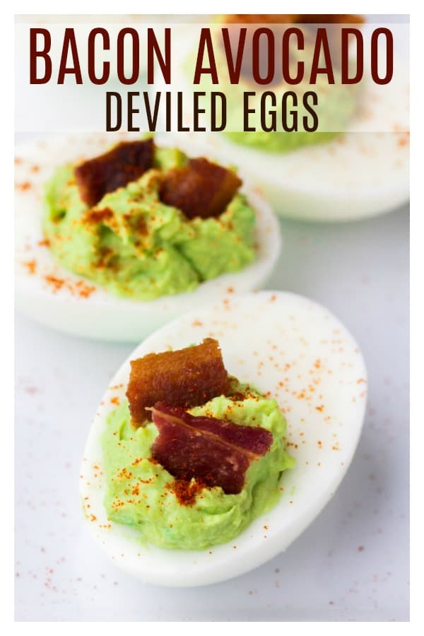 Bacon Avocado Deviled Eggs are a delicious keto and low carb appetizer and side dish recipe. Eggs are filled with creamy avocado and topped with smoky bacon and paprika! They are perfect for summer entertaining! | #handsomesummer #handsomebrookfarm #keto #lowcarb #avocadodeviledeggs #dlbrecipes