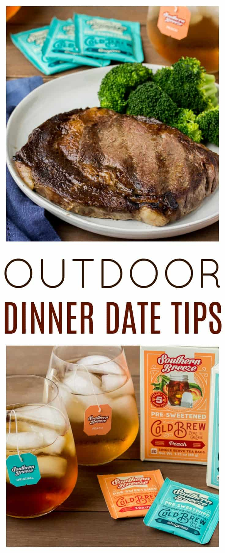 Outdoor Dinner Date Tips - Now that the weather is perfect for grilling outside, making dinner outdoors can be the perfect setting for date night! Here are some outdoor dinner date tips to help the evening be even more special! | #datenight #outdoordinnerideas #summerfood #steak #icedtea