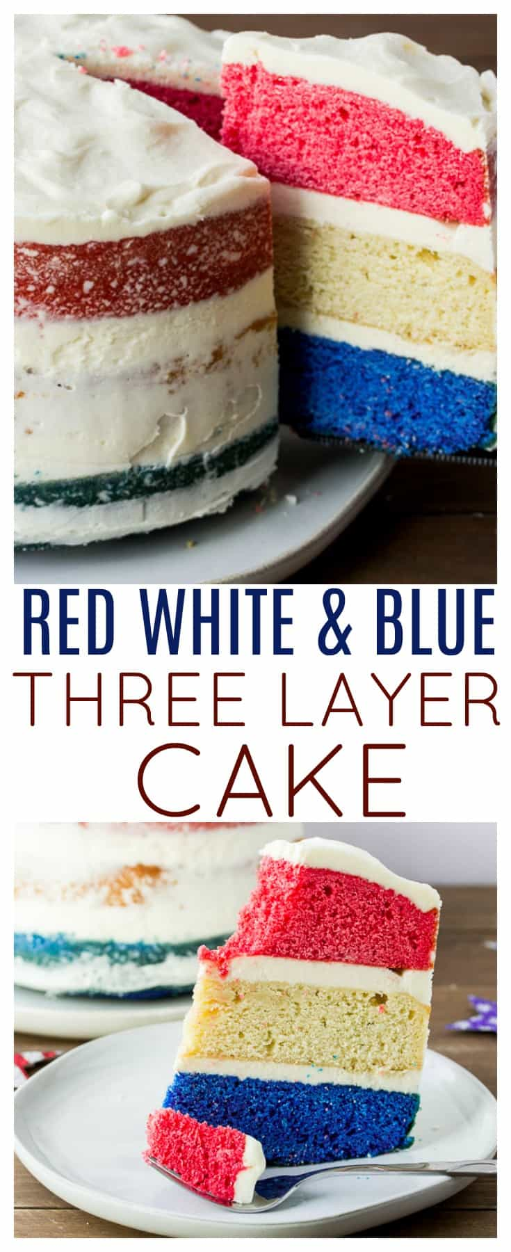 Three-layer Red, White, and Blue Cake - perfect for celebrating all things patriotic! Switch up the colors and this delicious three layer vanilla cake recipe becomes the perfect dessert for any special event! | AD #MySilpat #threelayercake #3layercake #vanillacake #vanillacakerecipe #nakedcake #dlbrecipes