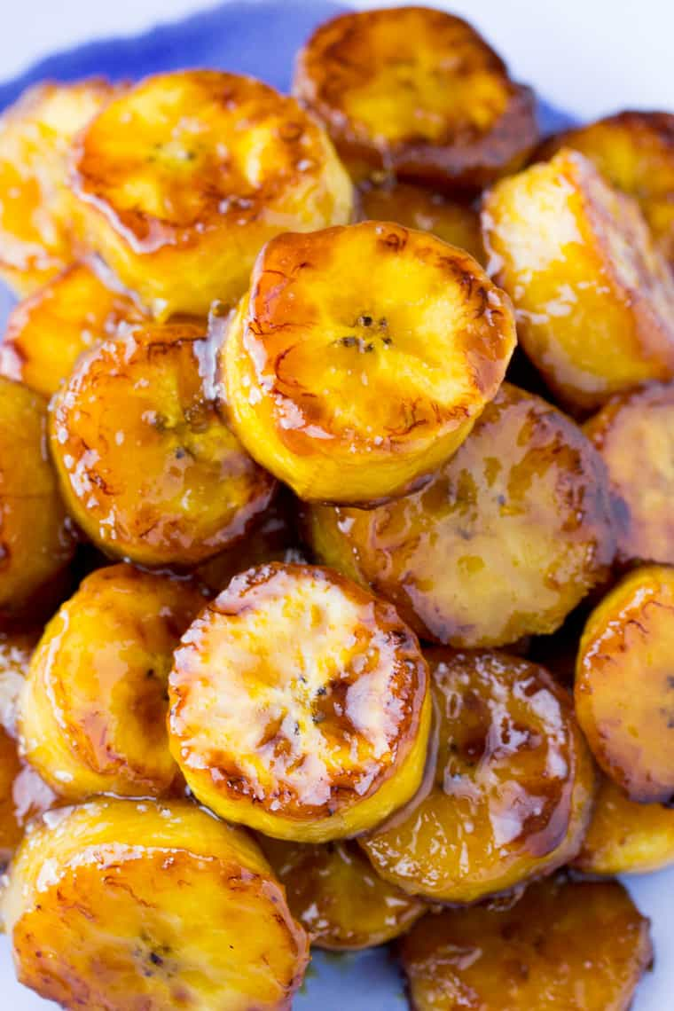 Sticky Sweet Fried Plantains Close Up
