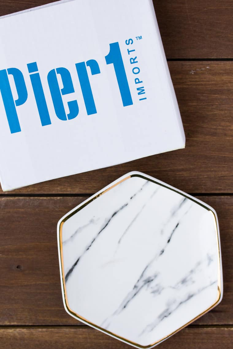 Pier 1 Imports Marble Ring Dish Next to its Box