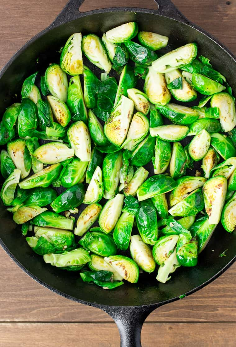 Brussels Sprouts in a Cast Iron Skillet