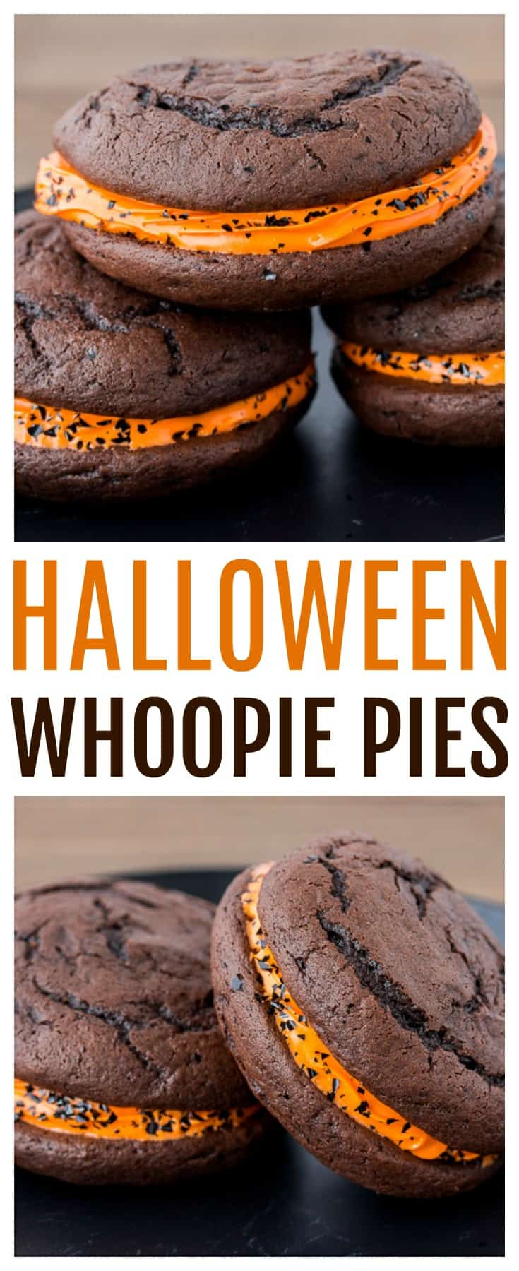 Halloween Whoopie Pies - devils food cake and orange icing make this dessert recipe perfect for the holiday! Included is 3 different decorating ideas to make all your little ghouls happy this halloween! | #dlbrecipes #halloween #halloweenbaking #halloweendessert