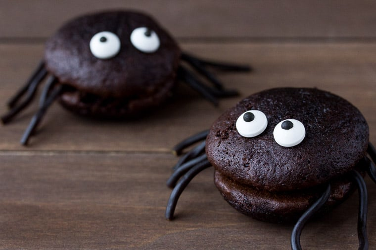 Halloween Whoopie Pie Spiders on a Wood Board