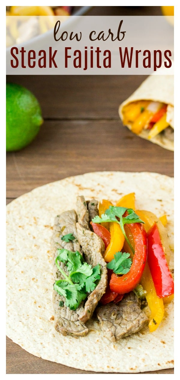 Low Carb Steak Fajita Wraps - delicious seasoned steak, peppers, and onions all wrapped up in a low carb tortilla! This dinner recipe can be on the table in just 30 minutes! | #ad #30minutemeals #steakfajitas #fajitas #lowcarb #MissionCarbBalance