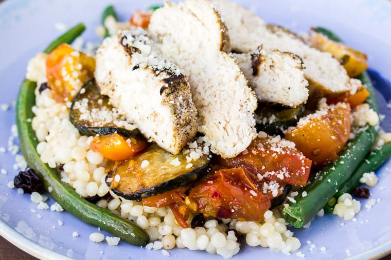 Blue Apron Tuscan Chicken & Summer Vegetables on a Blue Plate
